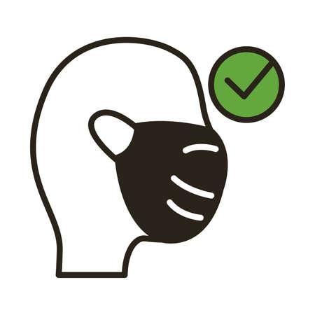 man using face mask line duo color style icon vector illustration design Illusztráció