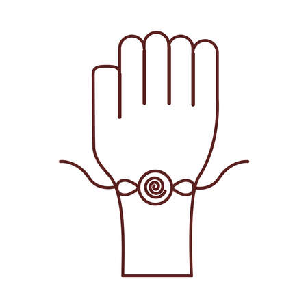 happy raksha bandhan celebration with hand using wristband line style vector illustration design