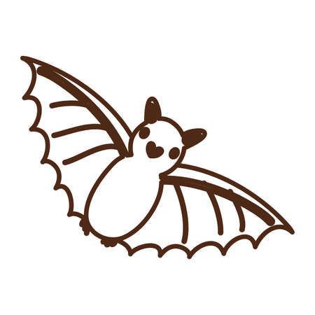 bat flying animal character icon vector illustration design
