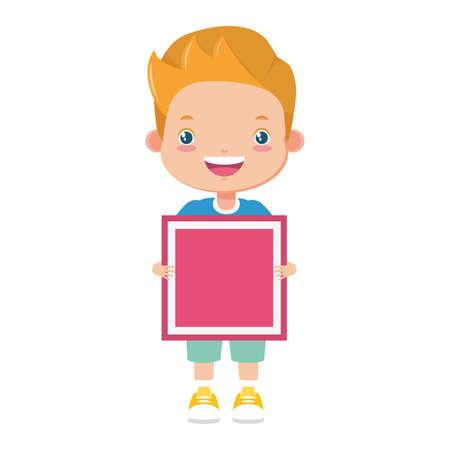 happy boy holding cube kids zone vector illustration
