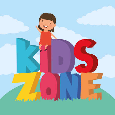 little girl with kids zone lettering in the field vector illustration design