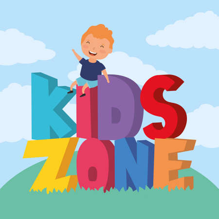 little boy with kids zone lettering in the field vector illustration design