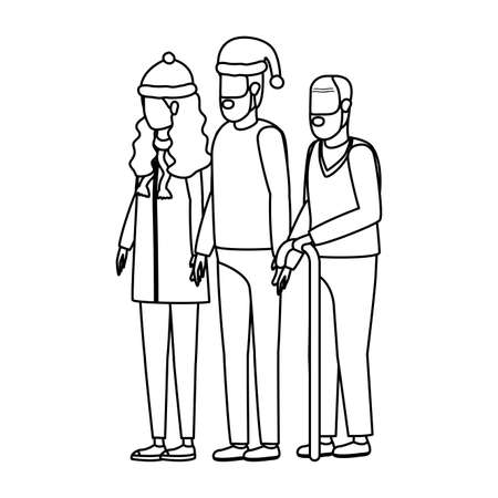 cute grandfather with young couple using christmas hat vector illustration design