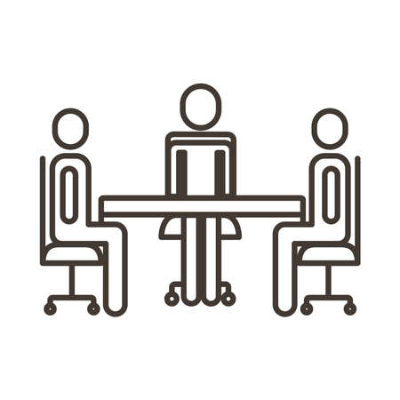 businessmen teamwork figures in table line style icon vector illustration design