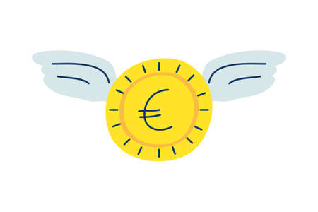 money coin euro with wings flying vector illustration design
