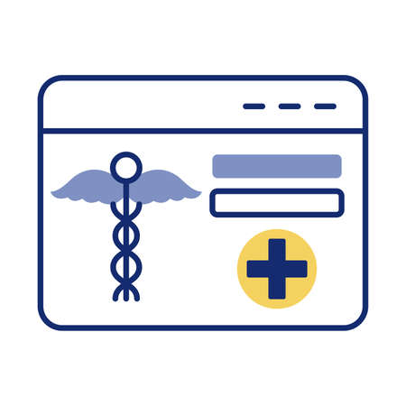 webpage with medical symbol health online line style vector illustration design