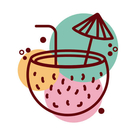 coconut cocktail line and color style icon vector illustration design