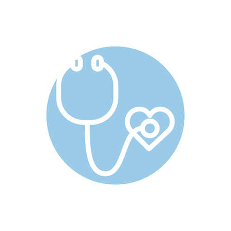 medical stethoscope tool block style icon vector illustration design