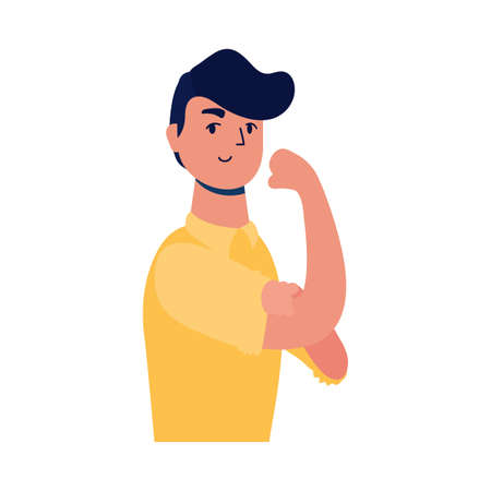 young strong man male avatar character vector illustration design Stock Illustratie