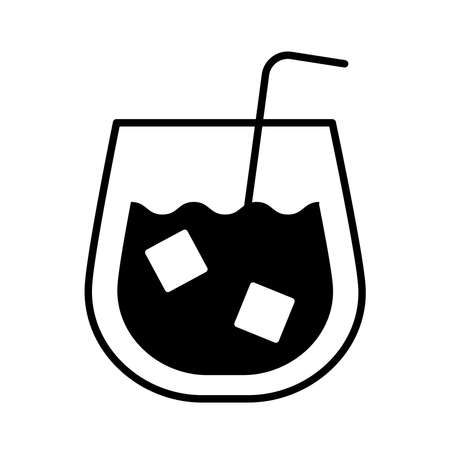 whiskey cup drink line style icon vector illustration design Vectores