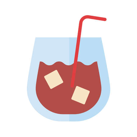 whiskey cup drink flat style icon vector illustration design