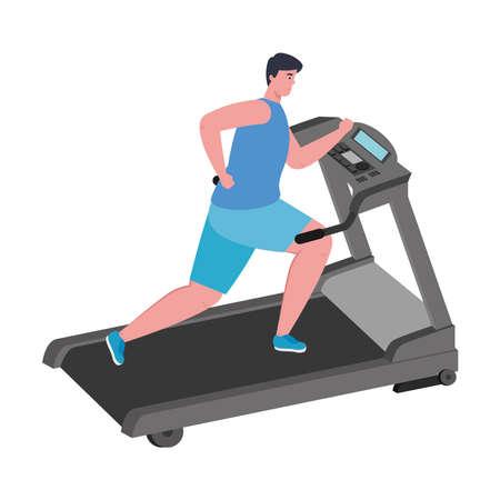 sport, man running on treadmill, sport person at the electrical training machine background vector illustration design Ilustracje wektorowe