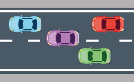 view aerial, of sedan cars vehicles in the vector illustration design Ilustração