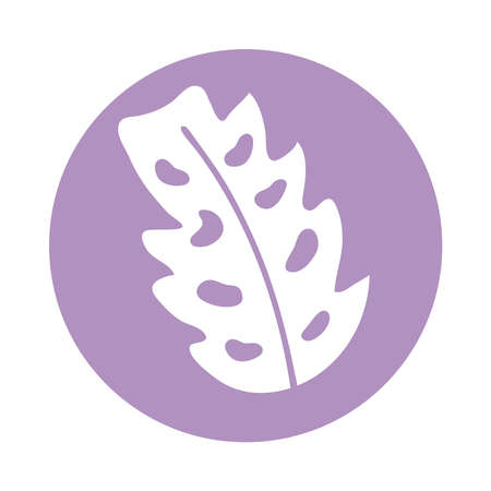 palm leaf plant block style vector illustration design