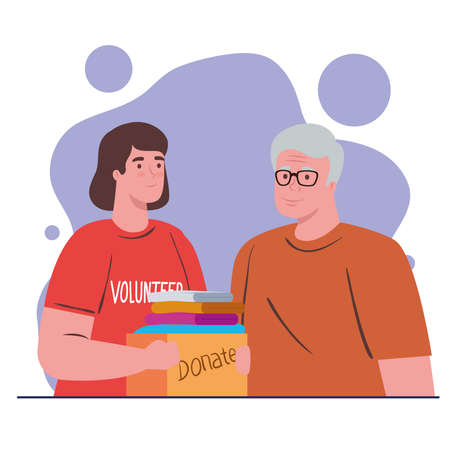 volunteer woman with donate box and old man design of Charity community care and work theme Vector illustration
