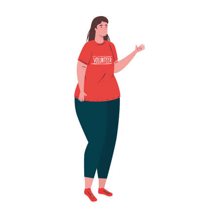 woman with volunteer tshirt design of Charity community care and work theme Vector illustration