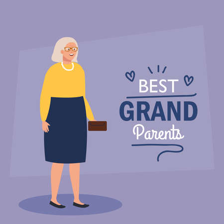 happy grand parents day, with cute grandmother, and lettering decoration of best grand parents vector illustration design