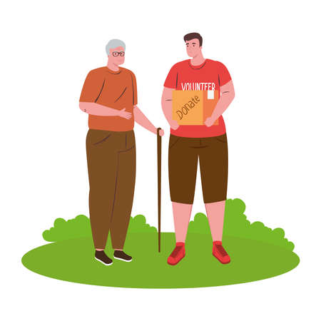 volunteer boy with donate box and old man design of Charity community care and work theme Vector illustration