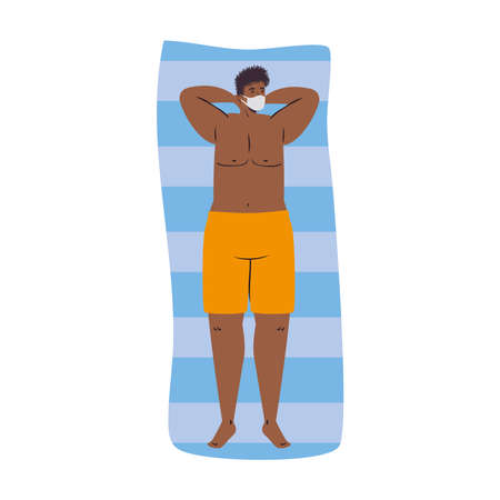 Man cartoon with swimsuit and medical mask on towel design, Summer vacation tropical and covid 19 virus theme Vector illustration Illustration