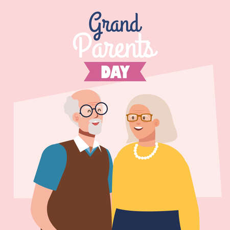 happy grand parents day with cute older couple vector illustration design Illustration