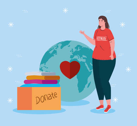 volunteer woman with donate box design of Charity community care and work theme Vector illustration