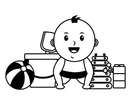 baby boy with bucket ball blocks xylophone toys vector illustration Illustration