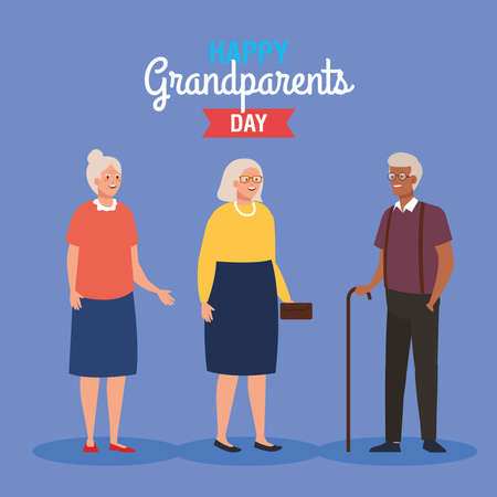 happy grand parents day with cute older people vector illustration design Illustration