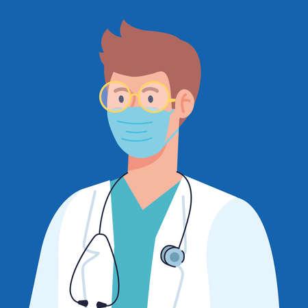 professional doctor wearing medical mask, using apron and stethoscope, hospital worker, prevention coronavirus covid 19 vector illustration design Illustration