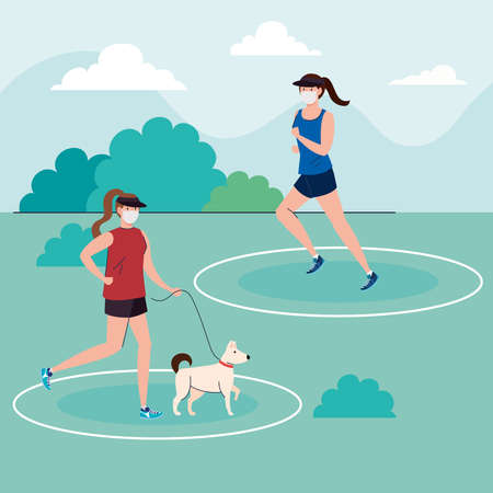 social distancing, women wearing medical mask, practicing sport outdoor with dog mascot, coronavirus covid 19 prevention