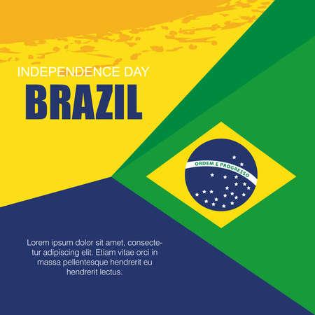 banner of brazil independence celebration, with icons flag emblem decoration vector illustration design