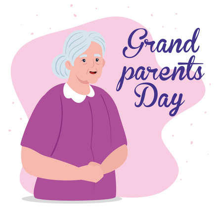 happy grand parents day with cute grandmother vector illustration design