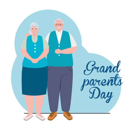 happy grand parents day with cute older couple vector illustration design Vettoriali