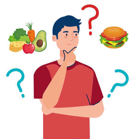 man choosing between healthy and unhealthy food, fast food vs balanced menu vector illustration design
