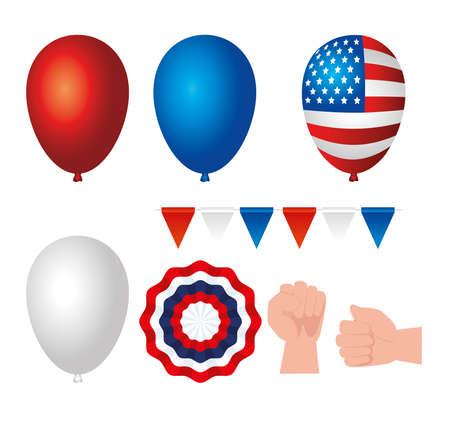 set icons of happy labor day holiday celebration vector illustration design