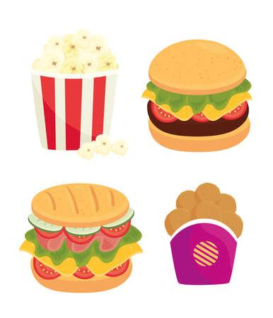 set of fast food, lunch or meal vector illustration design