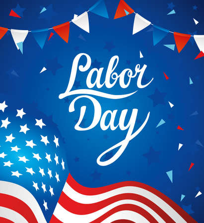 happy labor day holiday banner with united states national flag and garlands hanging vector illustration design Vektorové ilustrace
