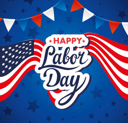 happy labor day holiday banner with united states national flag and garlands hanging vector illustration design