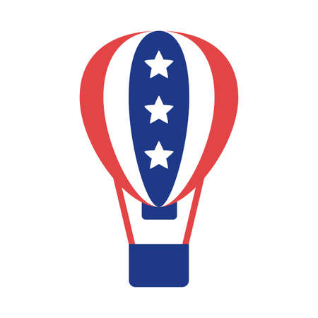 balloon air hot with united states of america flag silhouette style vector design