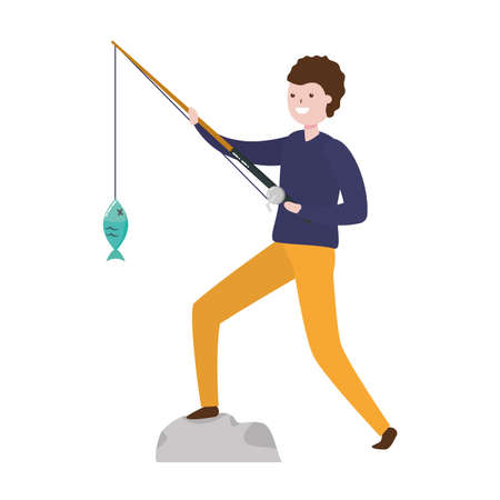 man with fishing rod fish - my hobby vector illustration