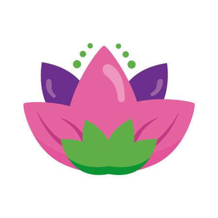 lotus flower hindu symbol flat style icon vector illustration design