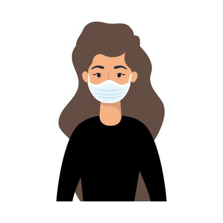 Woman avatar with mask design of Medical care and covid 19 virus theme Vector illustration