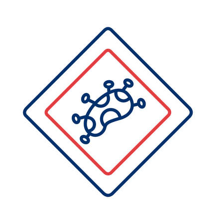 covid 19 particle caution signal line style icon vector illustration design