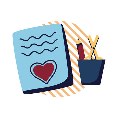 Heart on note scissor and pencil inside mug flat style icon design, Art creativity tool instrument painter draw school abstract and work theme Vector illustration