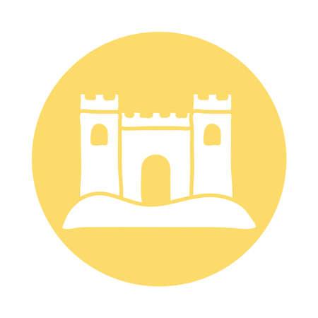 sand castle block icon vector illustration design