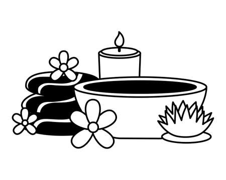 stones aromatic salt flowers spa treatment therapy vector illustration
