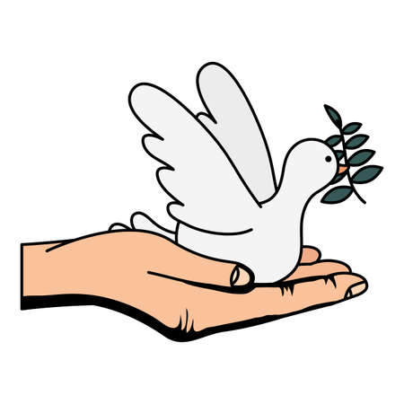 hand lifting dove flying with olive branch vector illustration design
