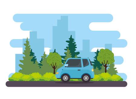blue sedan car vehicle in the road, with tree plants nature vector illustration design Ilustração