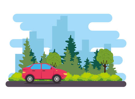 red sedan car vehicle in the road, with tree plants nature vector illustration design