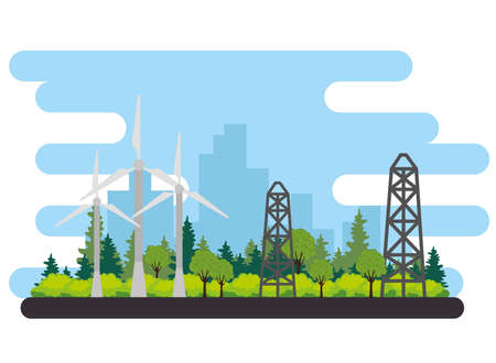wind turbine energy alternative scene vector illustration design
