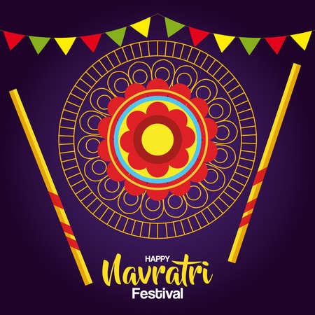 happy navratri celebration poster with gold circular frame and decoration vector illustration design